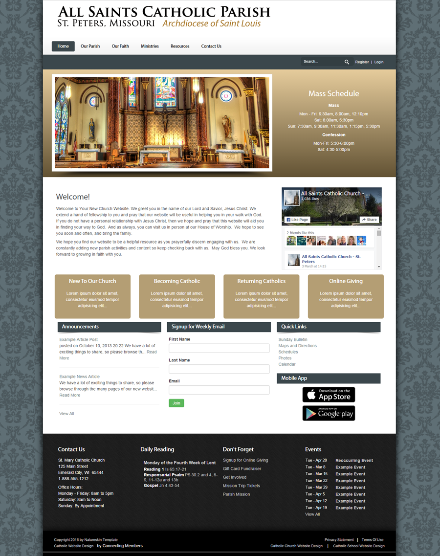 Catholic church website template nature for Websites to design houses for free