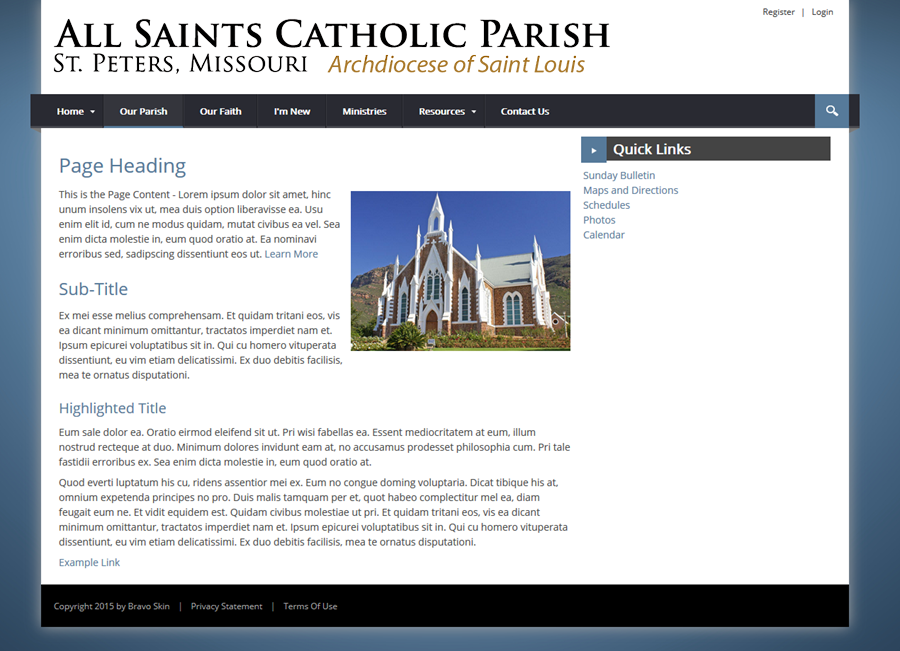 Catholic Church Website Templates Bravo - Church website templates