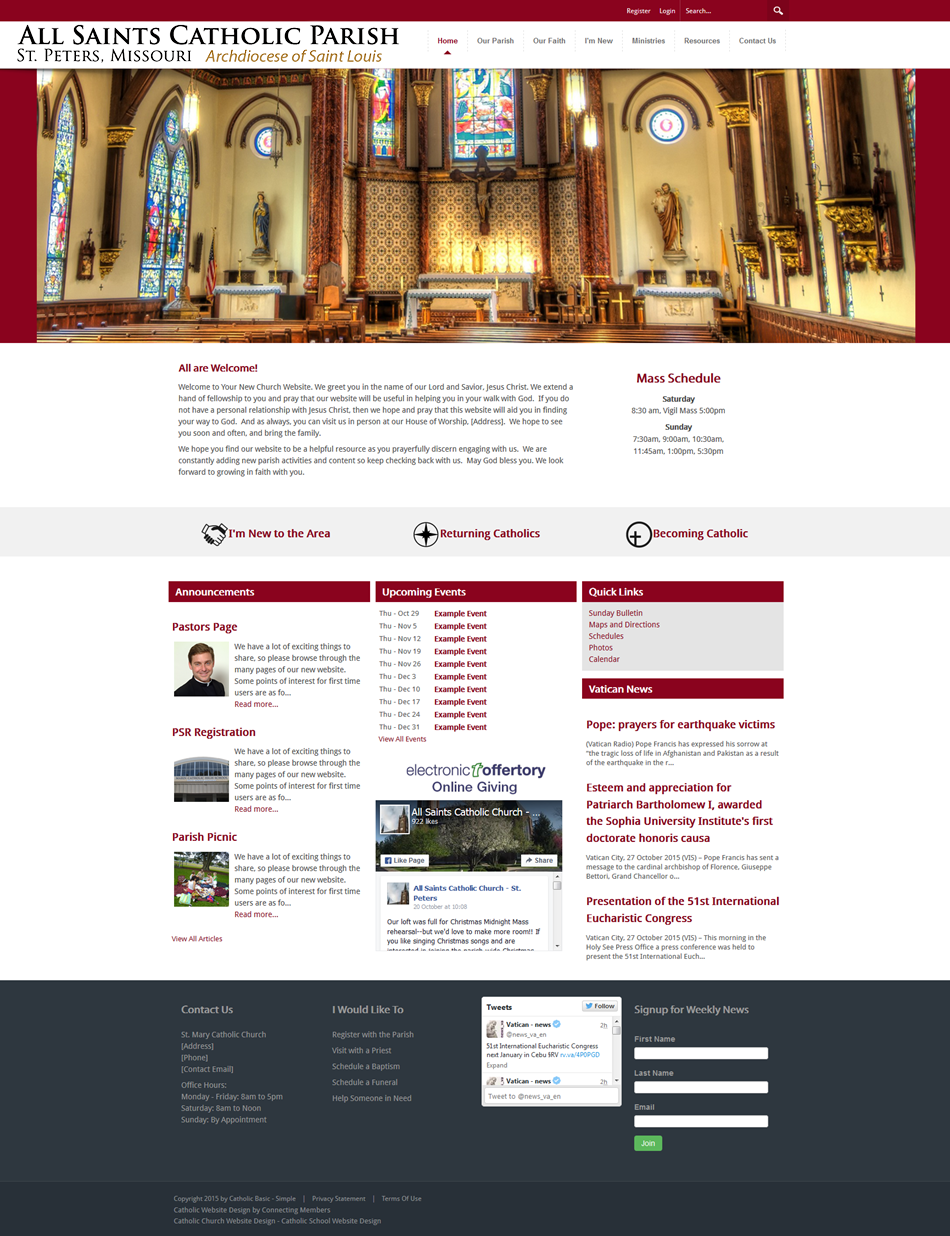 catholic church website template simple